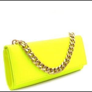 """Shine Bright"" -Neon Yellow Chain Clutch"